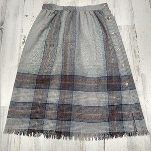 Vintage 70s Plaid Button Fringe Midi Skirt